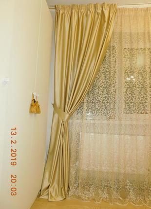 Шторы для спальни или гостиной с кружевом3