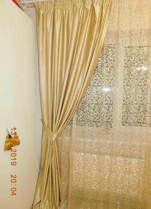 Шторы для спальни или гостиной с кружевом4