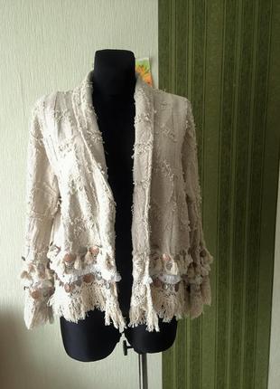 Льняной пиджак в стиле бохо