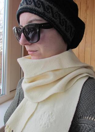 Классический чёрный берет+стильный шарф в подарок!