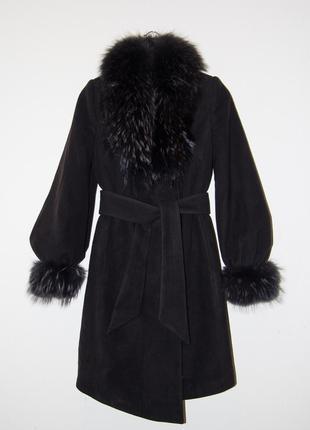 Пальто зимнее с натуральным съемным мехом