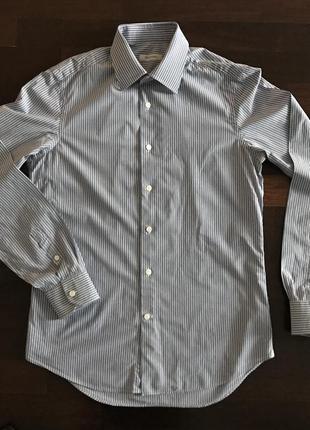 Рубашка valentino голубая в белую полоску