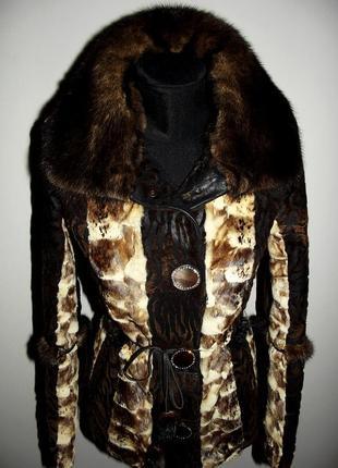 Кожаная куртка-дубленка из пони с норкой