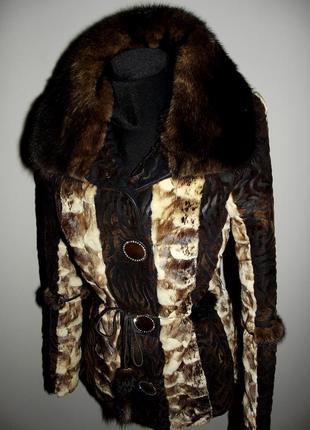 Кожаная куртка-дубленка из пони с норкой2