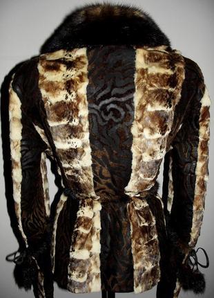 Кожаная куртка-дубленка из пони с норкой3