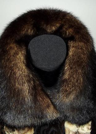 Кожаная куртка-дубленка из пони с норкой4