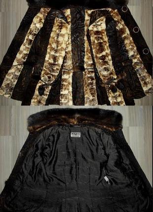 Кожаная куртка-дубленка из пони с норкой5