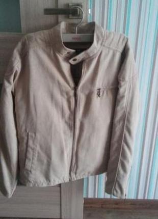 Куртка короткая замшевая беж