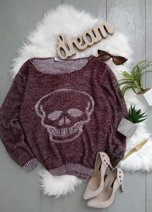 Джемпер свитер оверсайз с черепом №149