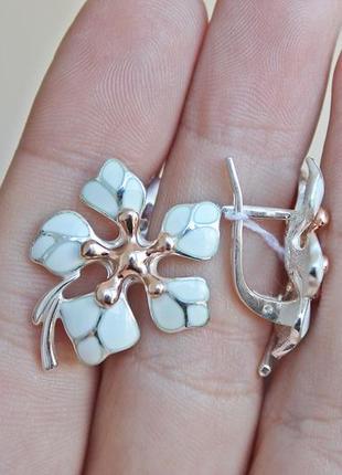 Серебряные серьги кокетка белые