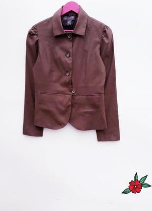 Льняный блейзер пиджак жакет шоколадного цвета качественный жакет