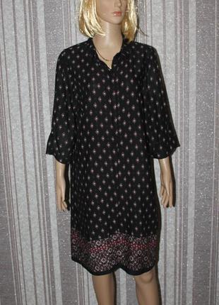 Оригинальное штапельное платье-рубашка new look с спринтом