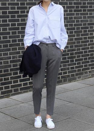 Обнова! брюки штаны классика зауженные высокая талия серые со стрелами h&m