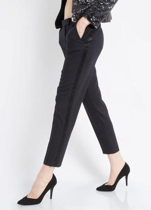 Обнова! брюки штаны зауженные укороченные высокая талия с лампасами h&m
