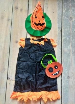 Карнавальное платье тыква ведьма 4-7 лет замеры