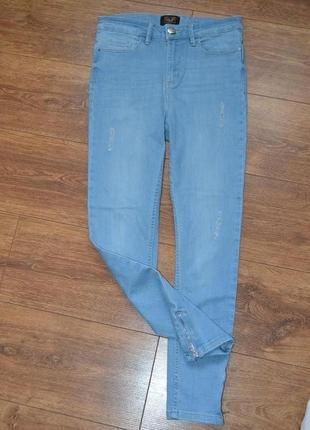 Голубые светлые джинсы скинни со змейками по бокам с высокой посадкой от f&f /m