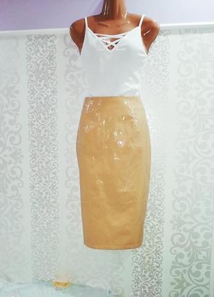 Крутая виниловая юбка миди