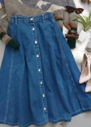 Актуальная расклешенная джинсовая миди юбка №116