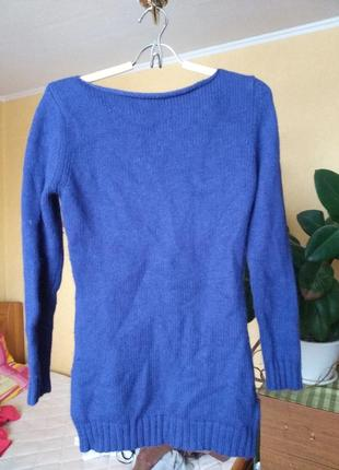 Ангора ангоровый свитер туника удлиненный цвет електрик