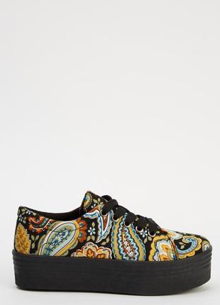 Закрытые текстильные туфли на платформе, кеды, сникерсы, криперы, размер 36, орнамент3 фото
