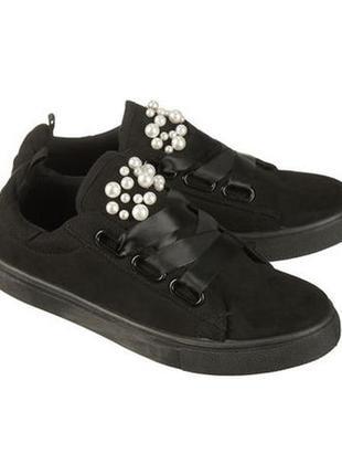 Kik закрытые текстильные туфли на платформе, кеды, сникерсы, р 36 с жемчужинами кроссовки1 фото
