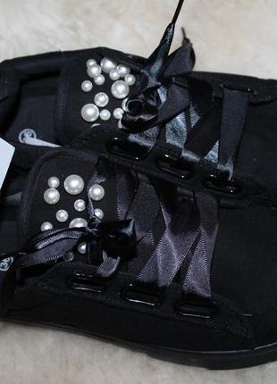 Kik закрытые текстильные туфли на платформе, кеды, сникерсы, р 36 с жемчужинами кроссовки3 фото