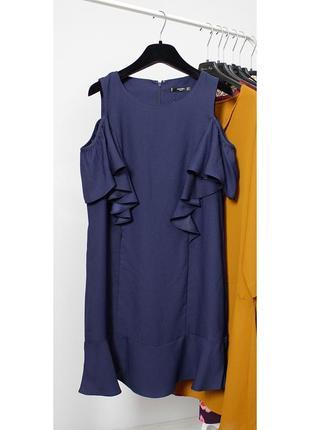 Сукня на бретельках відкриті плечі, платье воланы mango m