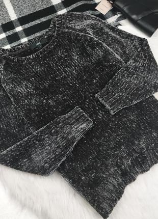 Плюшевый свитер с синели велюровый светр