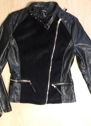 Кожаная косуха /куртка комбинированная мехом под норку