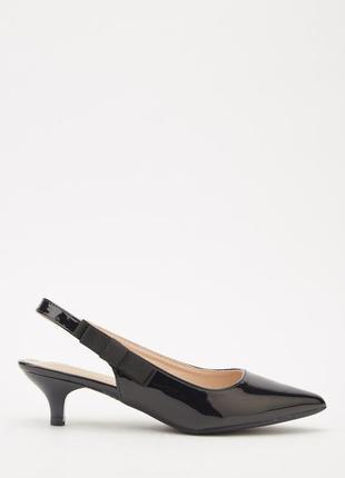 Черные лаковые лодочки, туфли на маленькой шпильке, низкий каблук, слингбэк, р 36,5-37