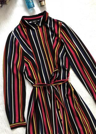 Стильное платье в разноцветную полоску под пояс l - размер