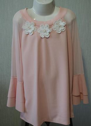 Оригинальная рубашка-блуза с четвертным рукавом и цветами