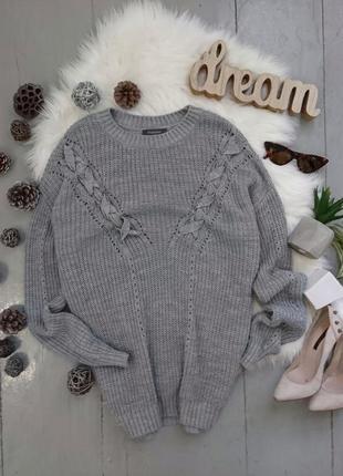 Актуальный свитер джемпер со шнуровкой оверсайз №155