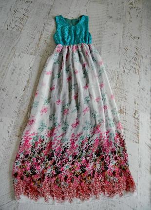 Длинное шифоновое платье сарафан в пол