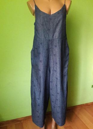 Мега стильный джинсовый комбинезон  монки кюлоты