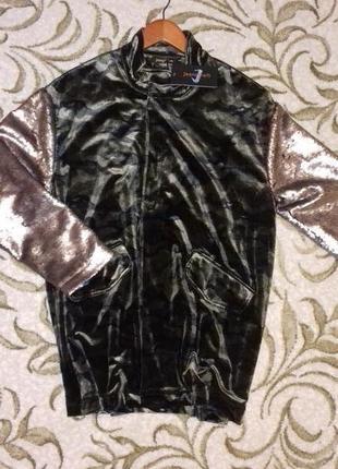 Велюровая куртка оверсайз с рукавами в паетках jeanskraft m/l