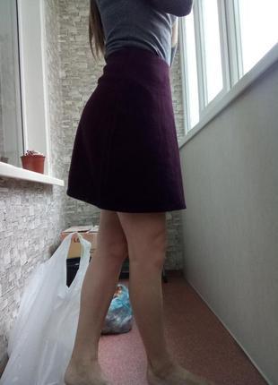 Однотонная мини юбка солнце клеш трапеция new look