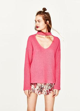 Милый свитшот с чокером в розовом цвете, средней плотности, нить гладкая, состояние 5!
