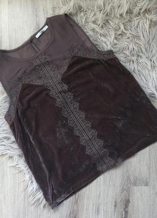 Топ с кружевом из красивой бархатной ткани пудрового цвета