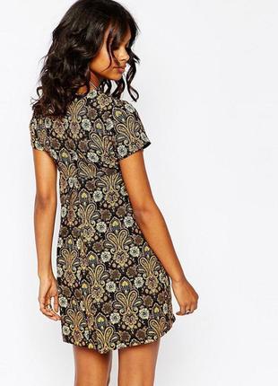 Стильное платье трапеция в английском стиле, короткий рукав, плотная ткань, с сайта asos