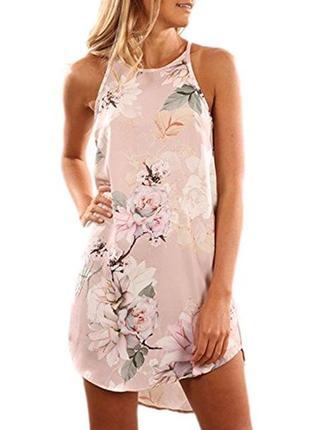 Пляжное нежно розовое платье в цветы