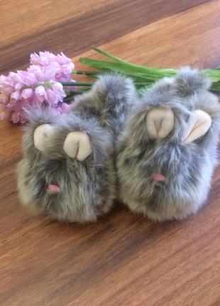 Классные меховые тапочки,пинеточки кролики для малыша next 22 размер