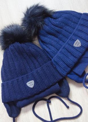 Теплий головний набір з шарфом на 48-50 об'єм голови в кольорах