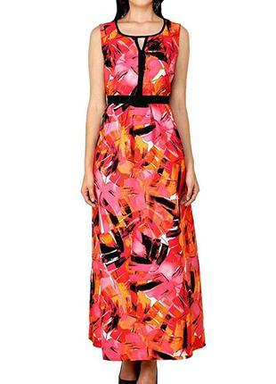 Красочное платье макси на резинке р.16