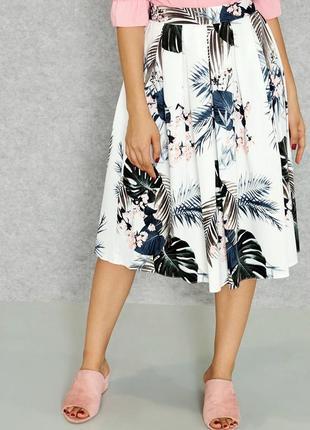 Очаровательная юбка миди с тропическим принтом р.20