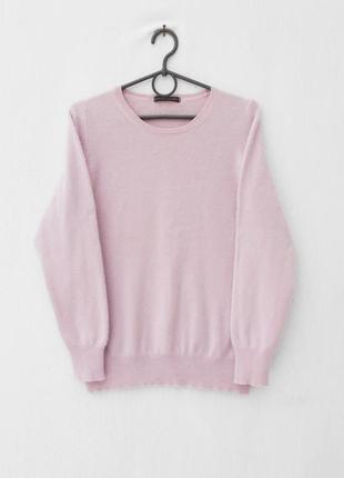 Розовый зимний осенний кашемировый свитер с длинным рукавом