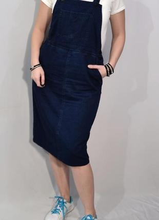 2709\80 синее платье-фартук из тонкого денима monki m l