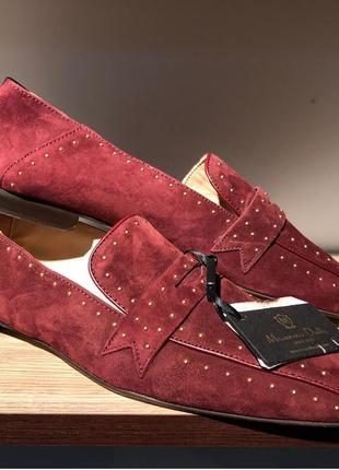 Классические замшевые туфли massimo dutti,бордовые