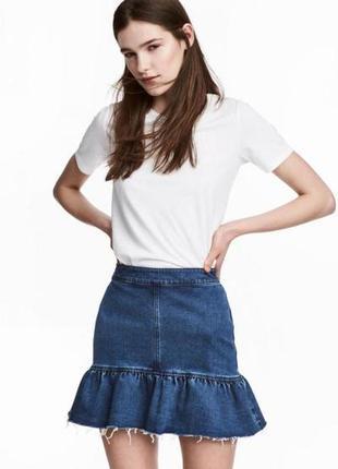 Оригинальная джинсовая юбка с воланом от бренда h&m разм. 46