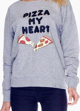 """Актуальный свитшот шведского бренда h&m с принтом """"пицца"""", размеры l и xl🌸"""